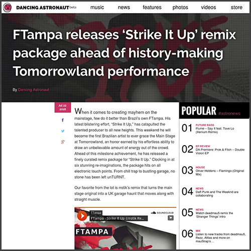 Strike It Up, Dancing Astronaut, FTampa, Tomorrowland, News