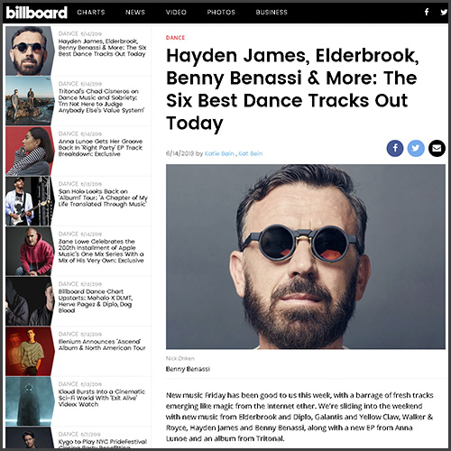 Benny Benassi, Billboard, News