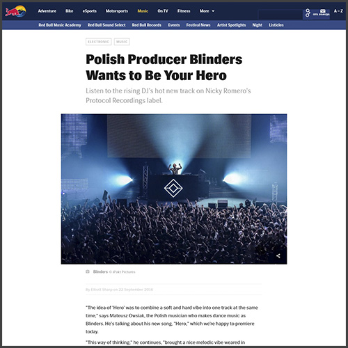 Blinders, Red Bull, Nicky Romero, Protocol, Premiere, Hero, News