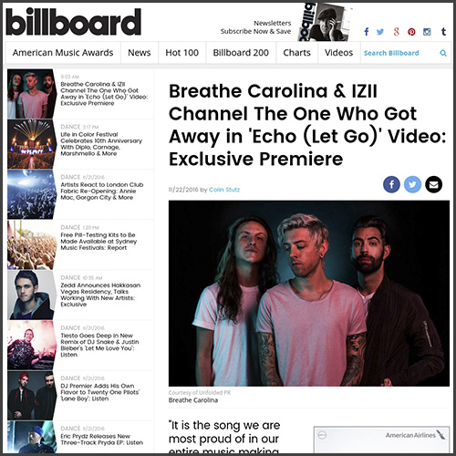 Breathe Carolina, Billboard, Echo, Spinnin Records, IZII, Premiere, News