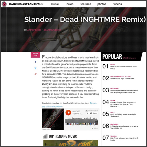 Slander, NGHTMRE, Duality EP, Mad Decent, Dancing Astronaut, News