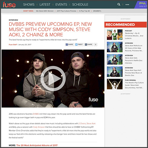 dvbbs, fuse tv, interview, news