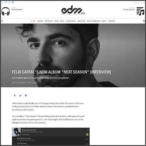 Felix Cartal, Interview, Next Season, News