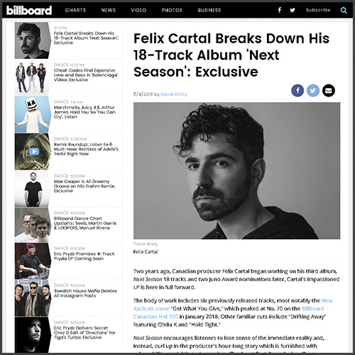 Felix Cartal, Nex Season, Album, Billboard, News