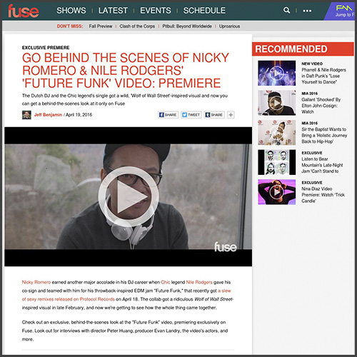 Fuse, Nile Rodgers, Nicky Romero, Behind The Scenes, News
