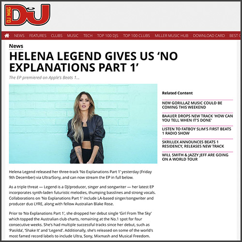 Helena Legend, DJ Mag, No Explanations, Sony Music, Ultra Music, News