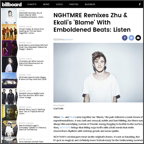 NGHTMRE, ZHU, Billboard, News