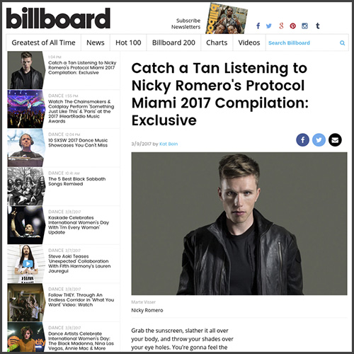 Nicky Romero, Billboard, Miami, WMC, News