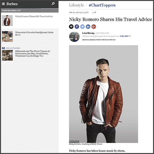 Nicky Romero, Forbes, Travel, Interview, News