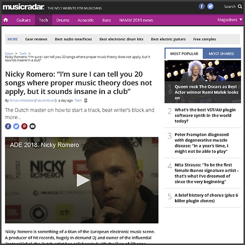 Nicky Romero, Music Radar, News