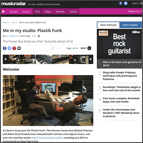 Plastik Funk, Me In My Studio, Music Radar, Future Music, Hardware, News