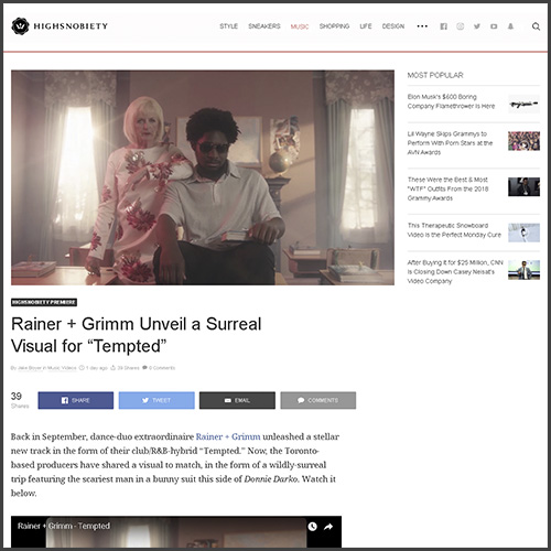 Rainer+Grimm, Highsnobiety, Tempted, News