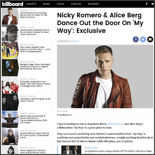 Nicky Romero, Alice Berg, My Way, Billboard