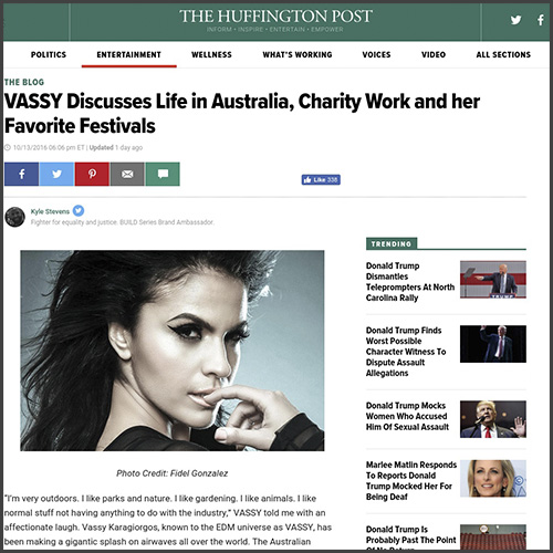 VASSY, The Huffington Post, Australia, Interview, Tiesto, News