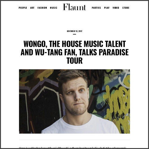 Wongo, Flaunt, Interview, Sweat It Out, News