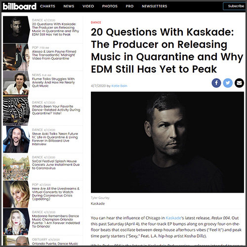 Billboard, Kaskade, News