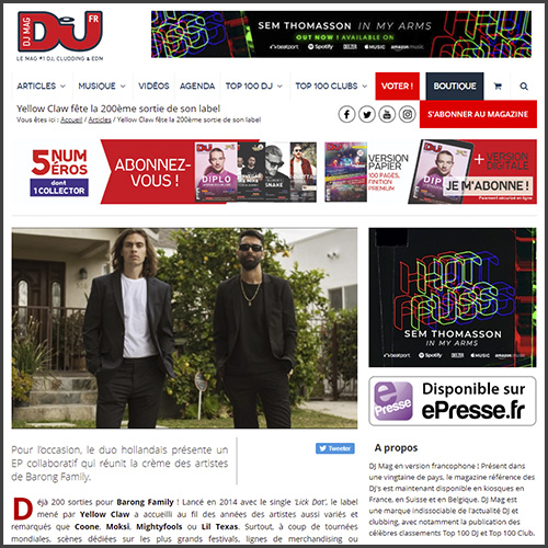 Yellow Claw, Barong Family, Dj Mag, news